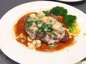 steak with crawfish
