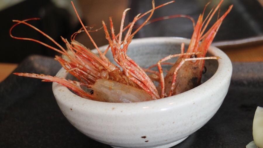 fried spot prawn heads