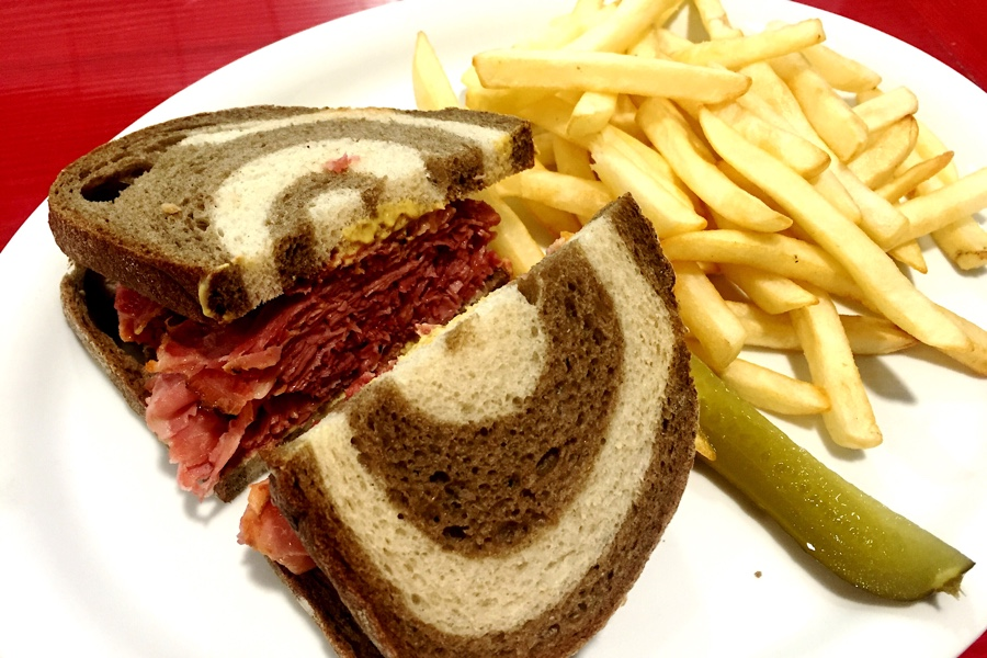 Skinny-sized Hot Montreal Smoked Meat on Marble Rye with Fries