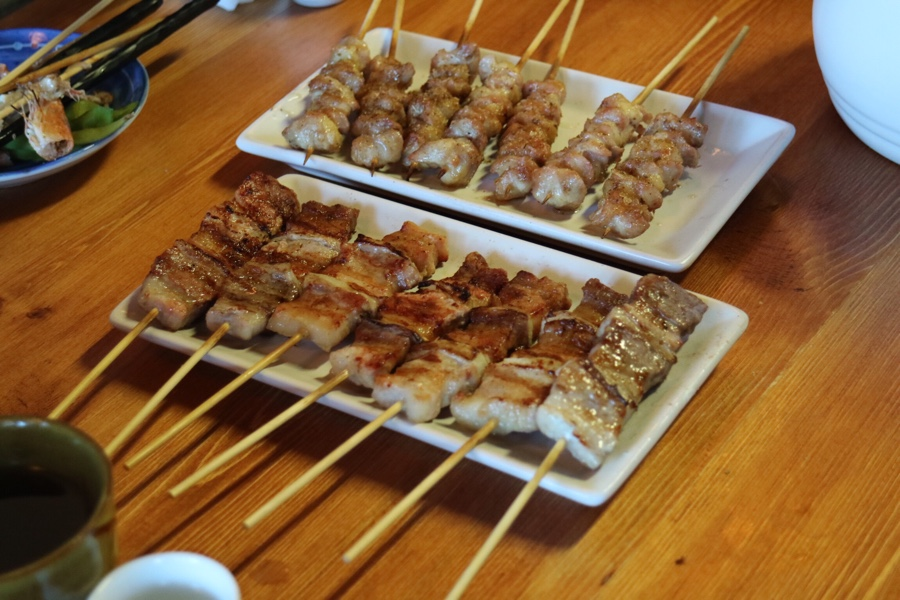 pork belly and chicken skewers