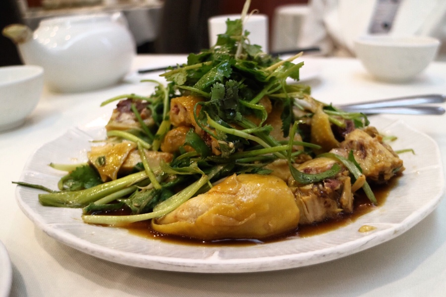 """Lo Gai"" - Steamed Chicken with Soy Sauce and Fresh Herbs"