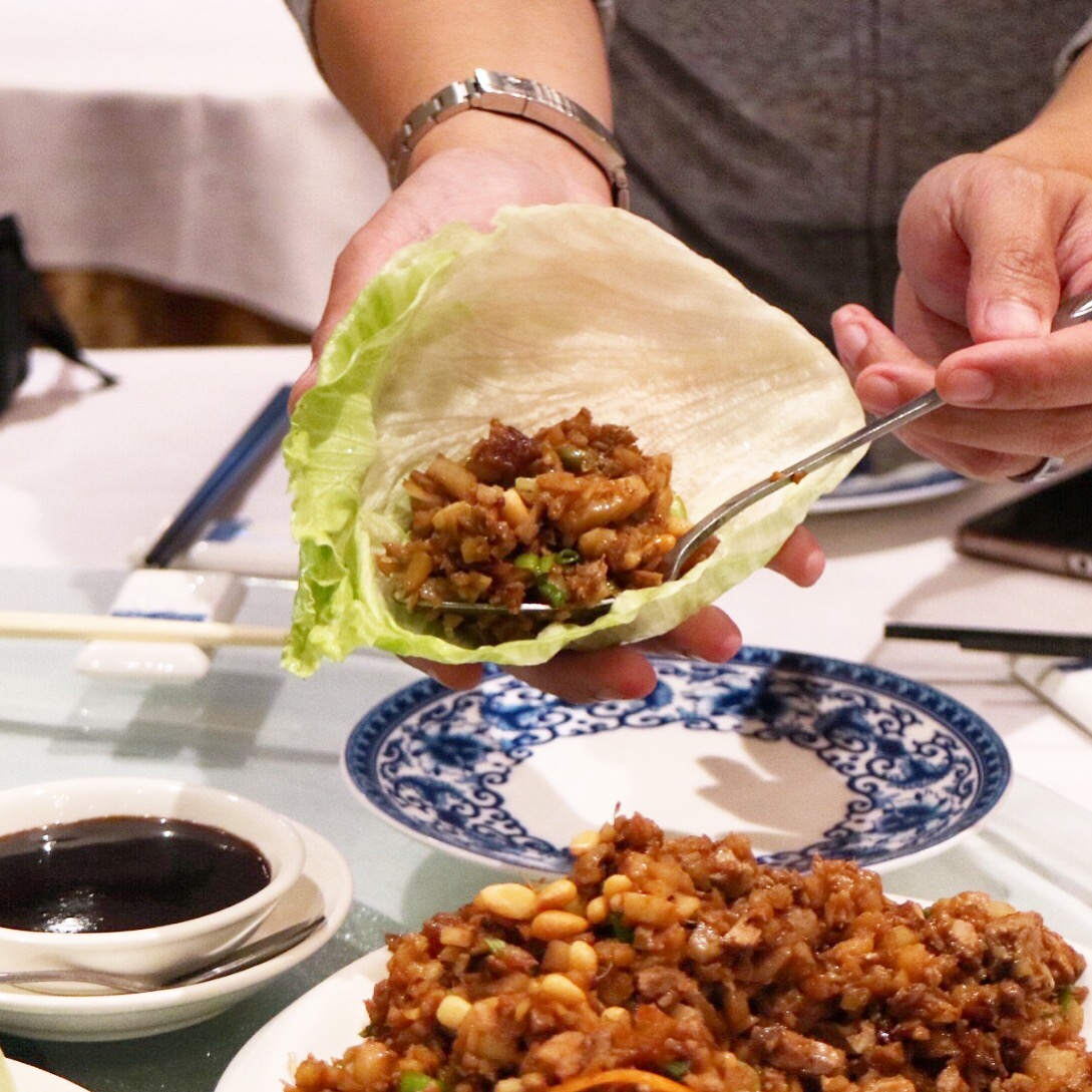 lettuce wrap with minced duck