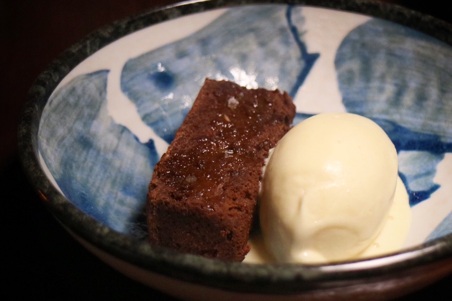 Flourless chocolate cake and miso caramel ice cream.