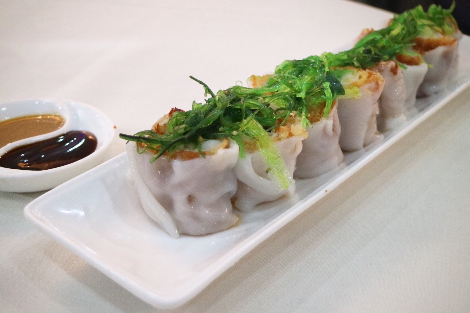 Rice Noodle Rolls Stuffed with Chinese Donut and Ground Fish