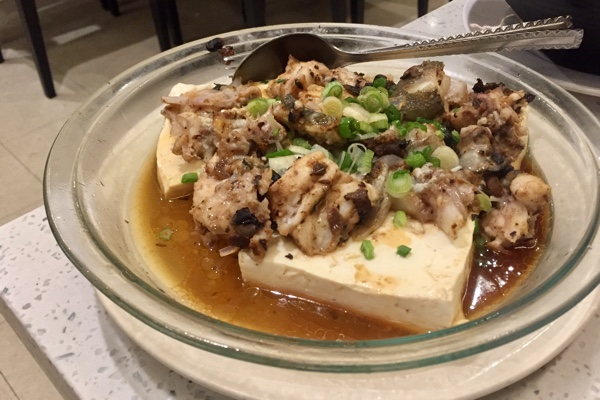 steamed ling cod and tofu with black bean sauce
