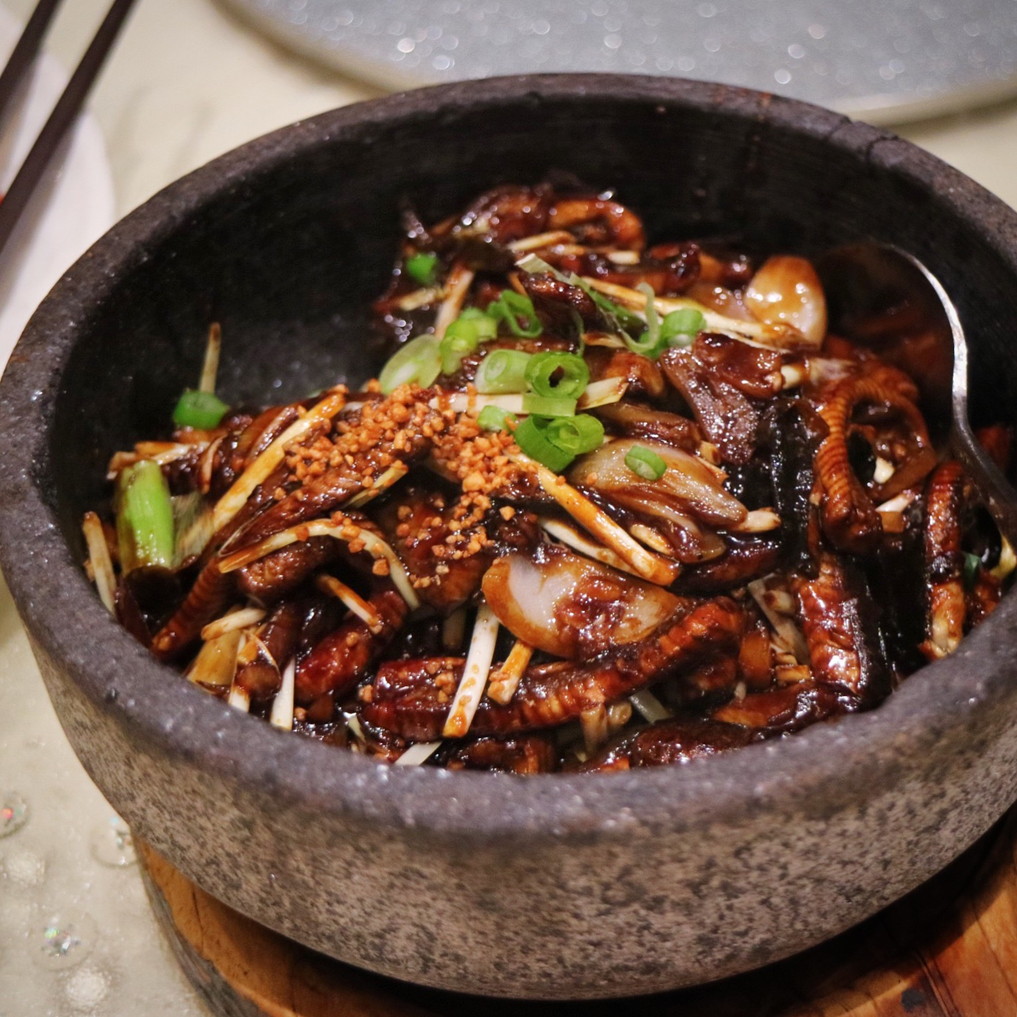 Fried Eel in Stone Bowl