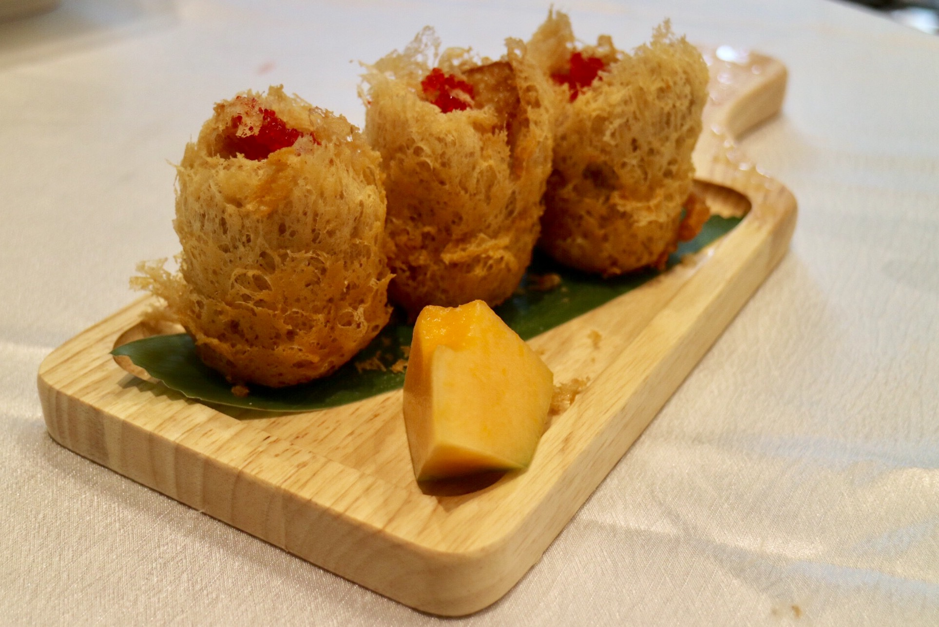 fried taro dumplings with scallop - bandao pearl