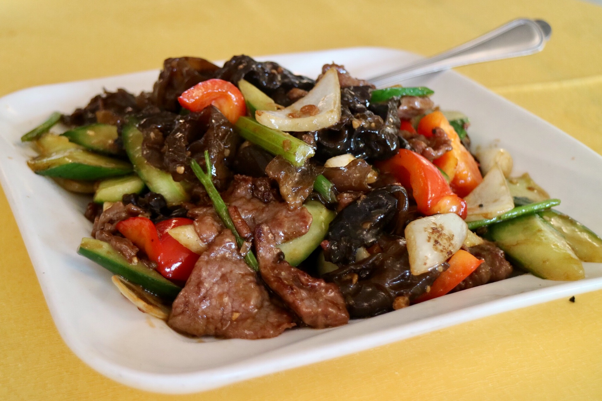 Beef with Cucumber and Mushrooms in XO Sauce