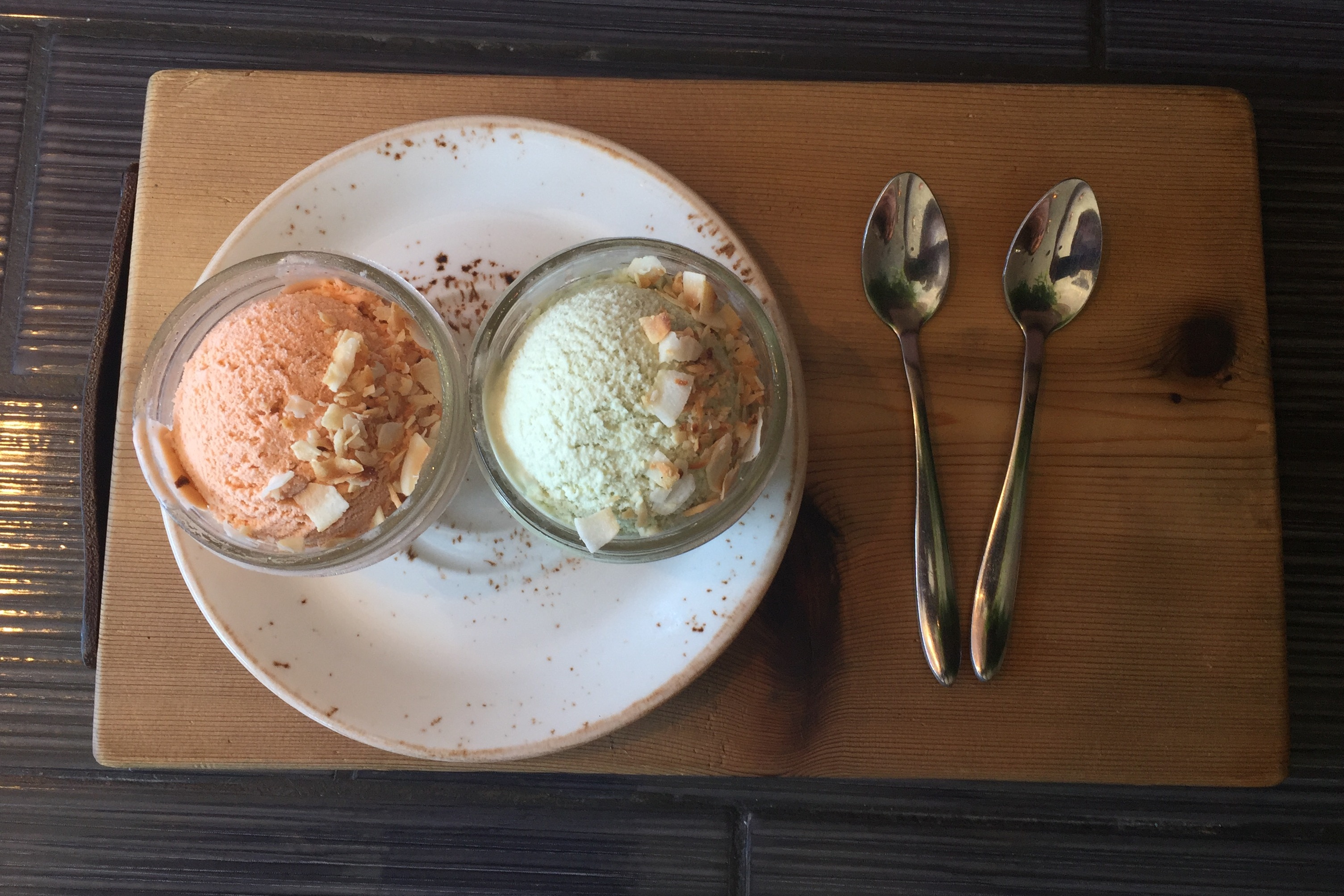 Thai Milk Tea Ice Cream and Pandan Leaf Ice Cream