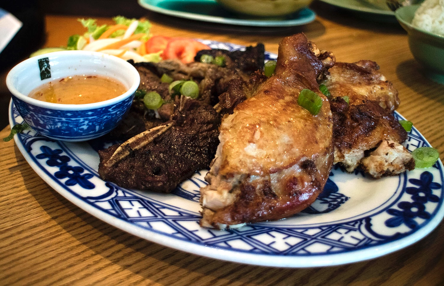 Trio of Char-Grilled Lemongrass chicken, pork, and beef ribs