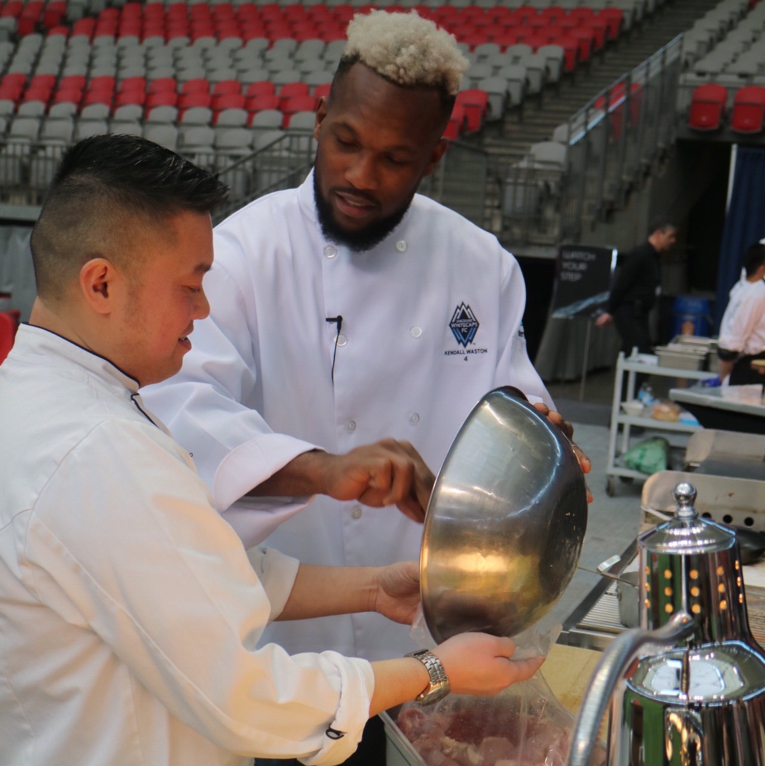 Centerplate's executive chef Will Tse and Whitecaps FC captain Kendall Waston