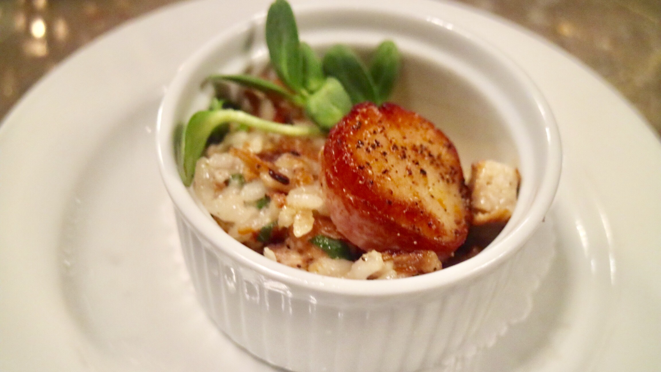 Seared Bacon Wrapped Scallop on Peking Duck Fried Risotto