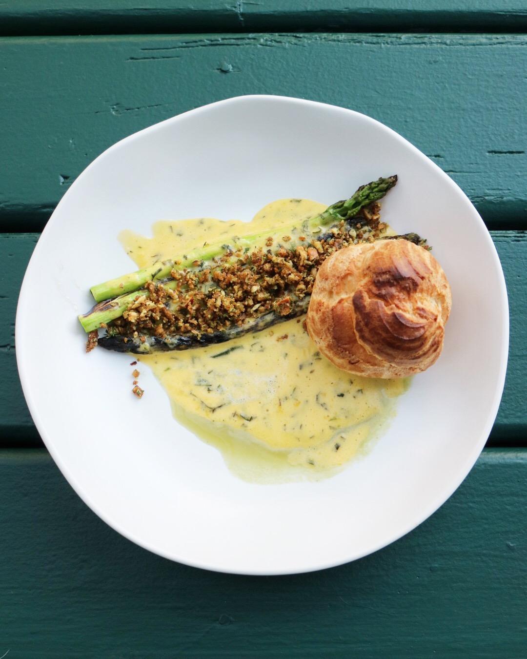 Grilled Asparagus, Hazelnut Crumble, Gougere, Asparagus Jus, Bearnaise