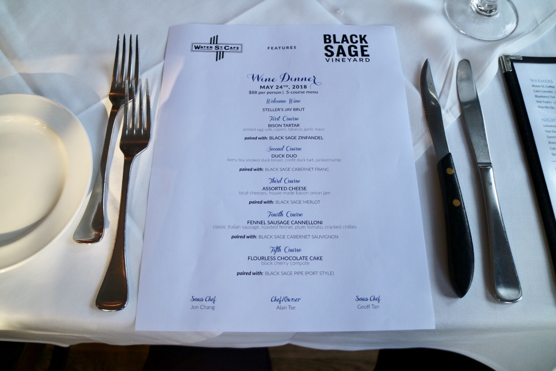 Wine Makers Dinner with Water St. Cafe & Black Sage Vinyards