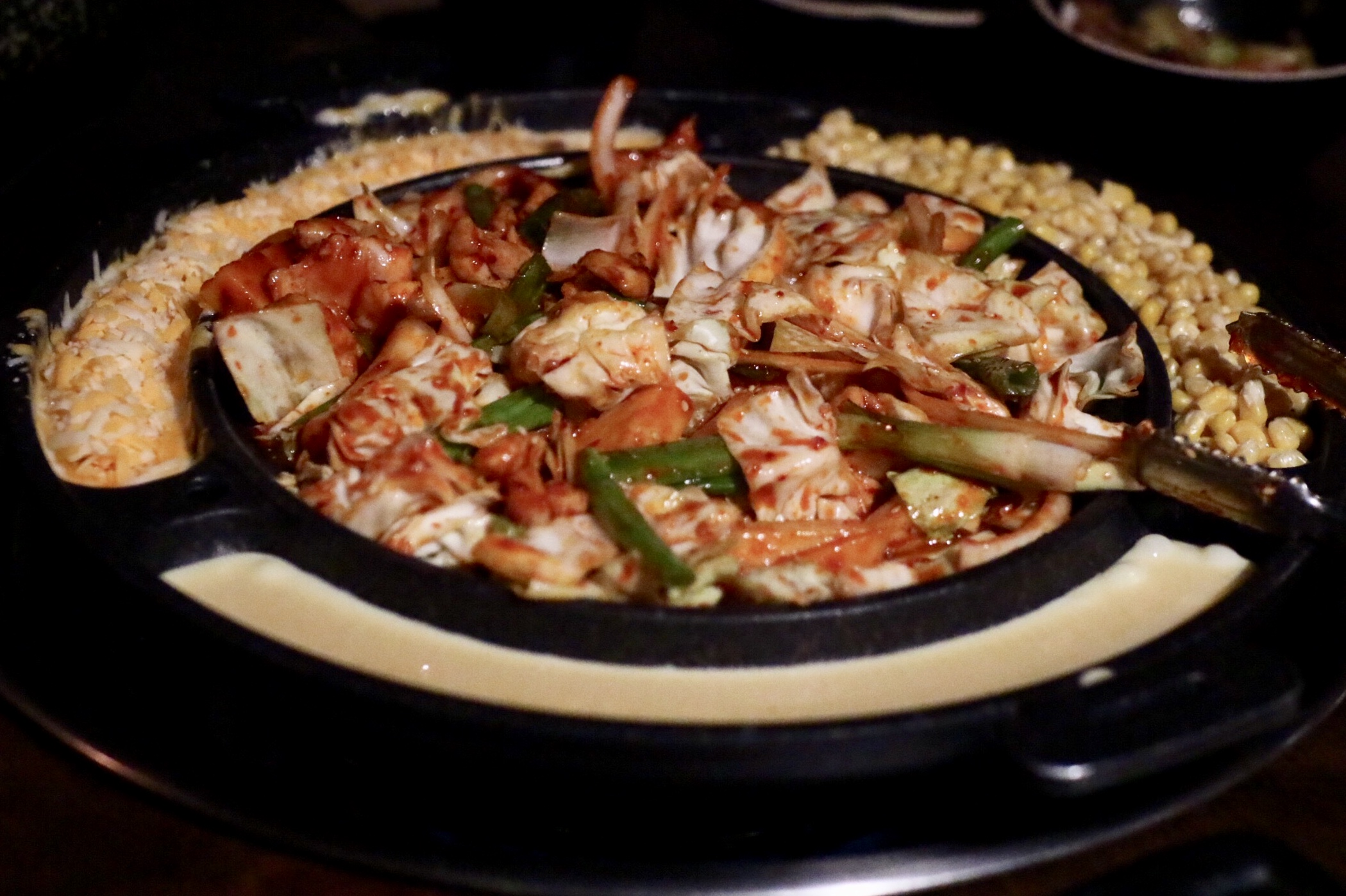 Korean Hot Plate with Spicy Chicken + Cheese