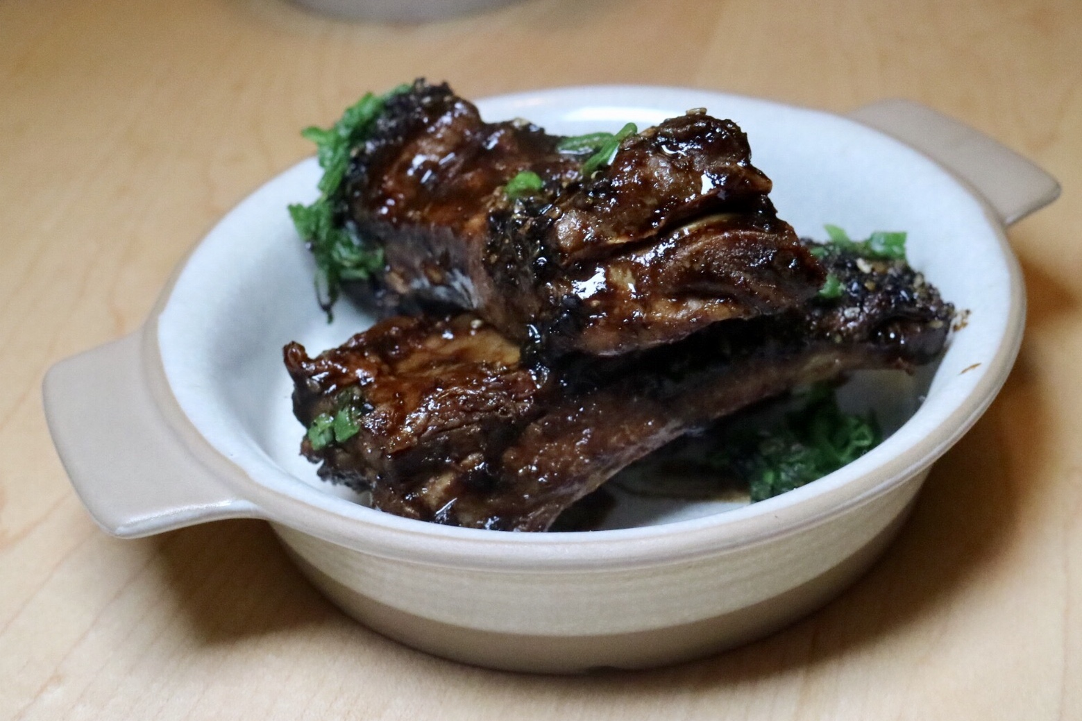 pork ribs with black bean sauce & black garlic