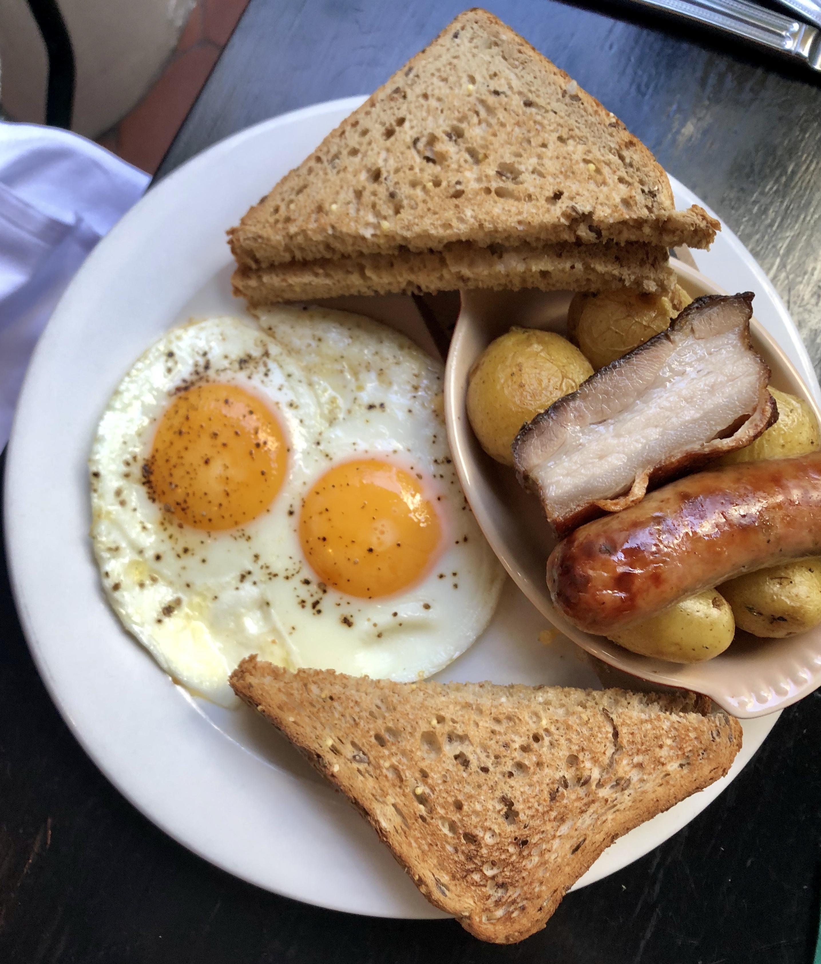 Pork Belly, Sausage, 2 Eggs