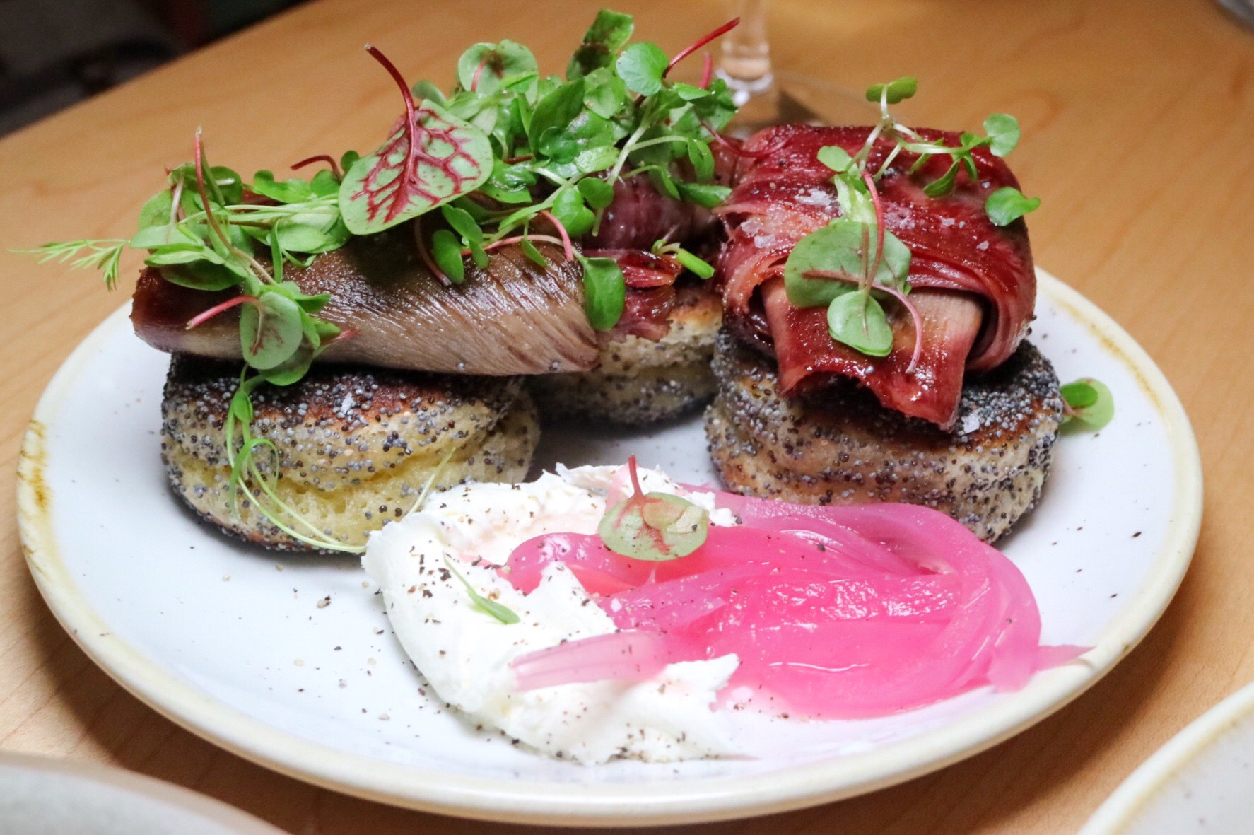 poppyseed buckwheat-beef tongue pastrami pancakes