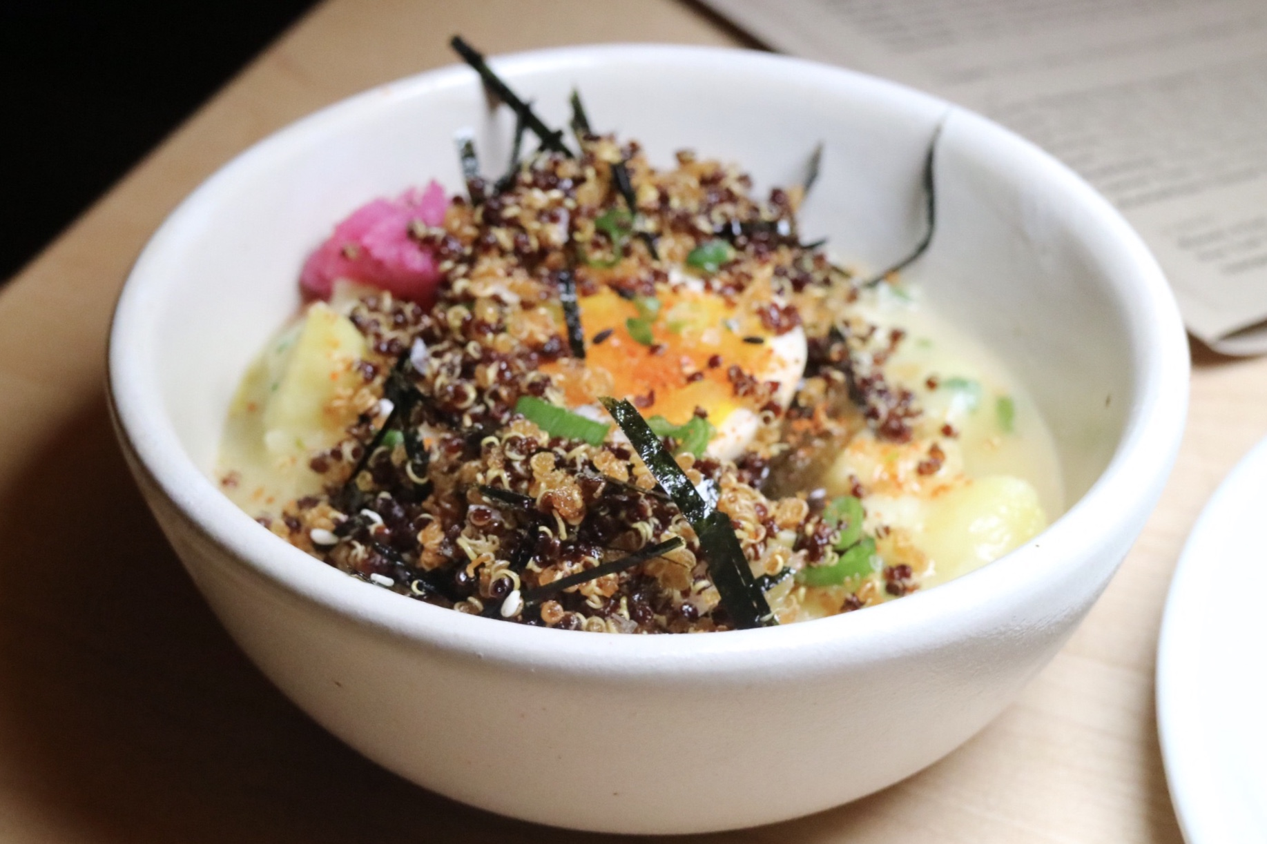 potato porridge, ramen egg, pickled nori
