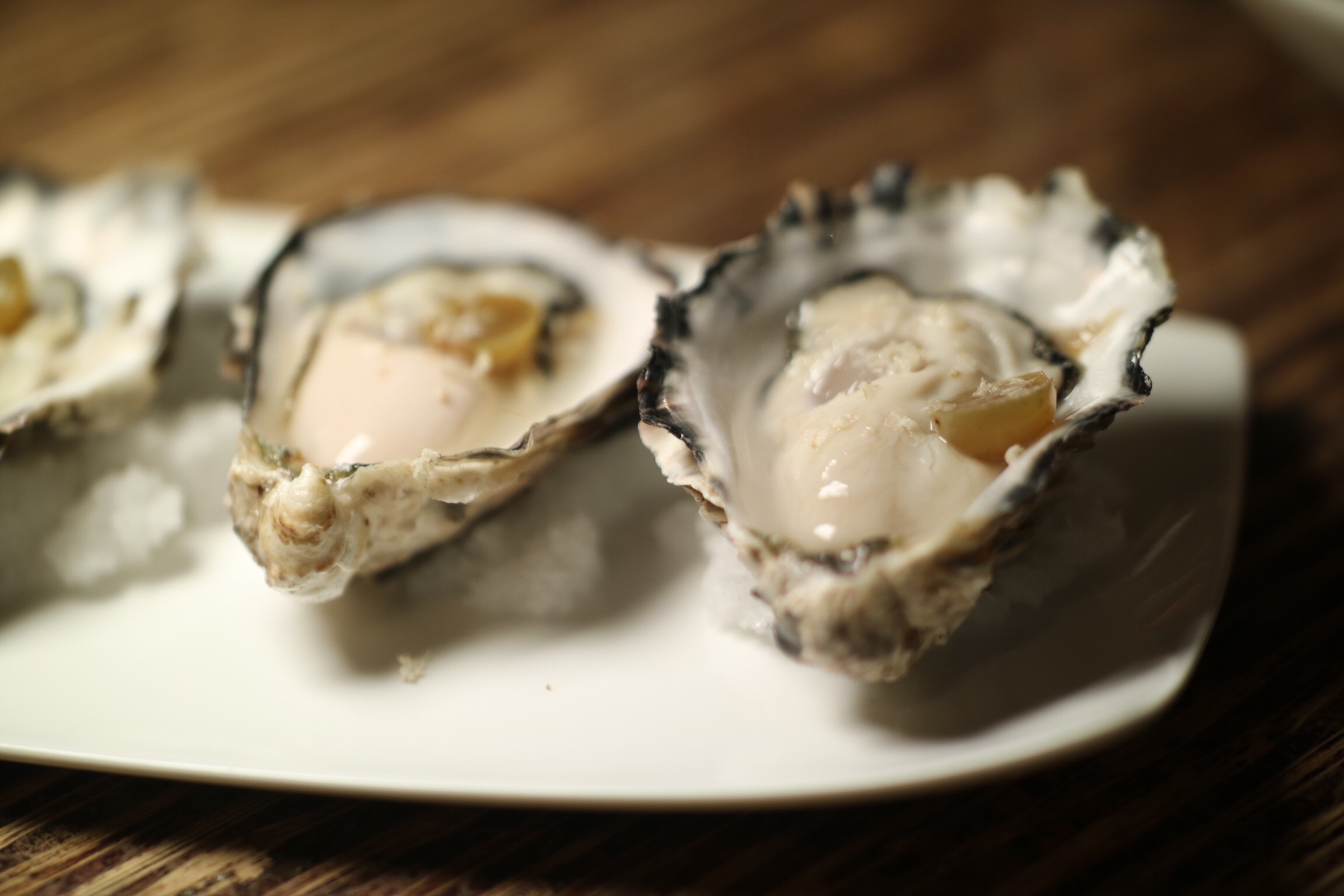 Marina's Gold Oysters, Pickled Grape, Fresh Horseradish