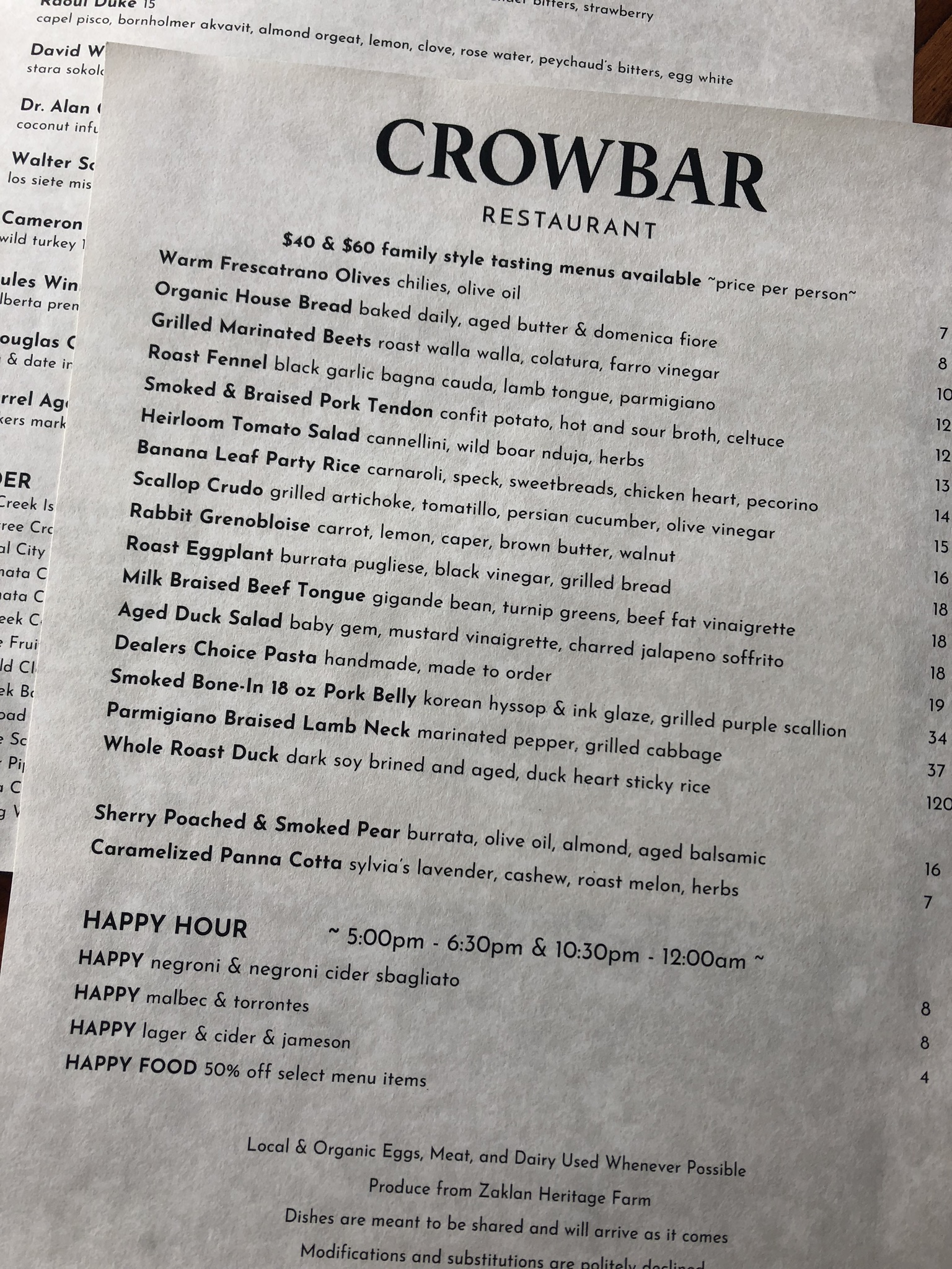 Crowbar Restaurant Food Menu