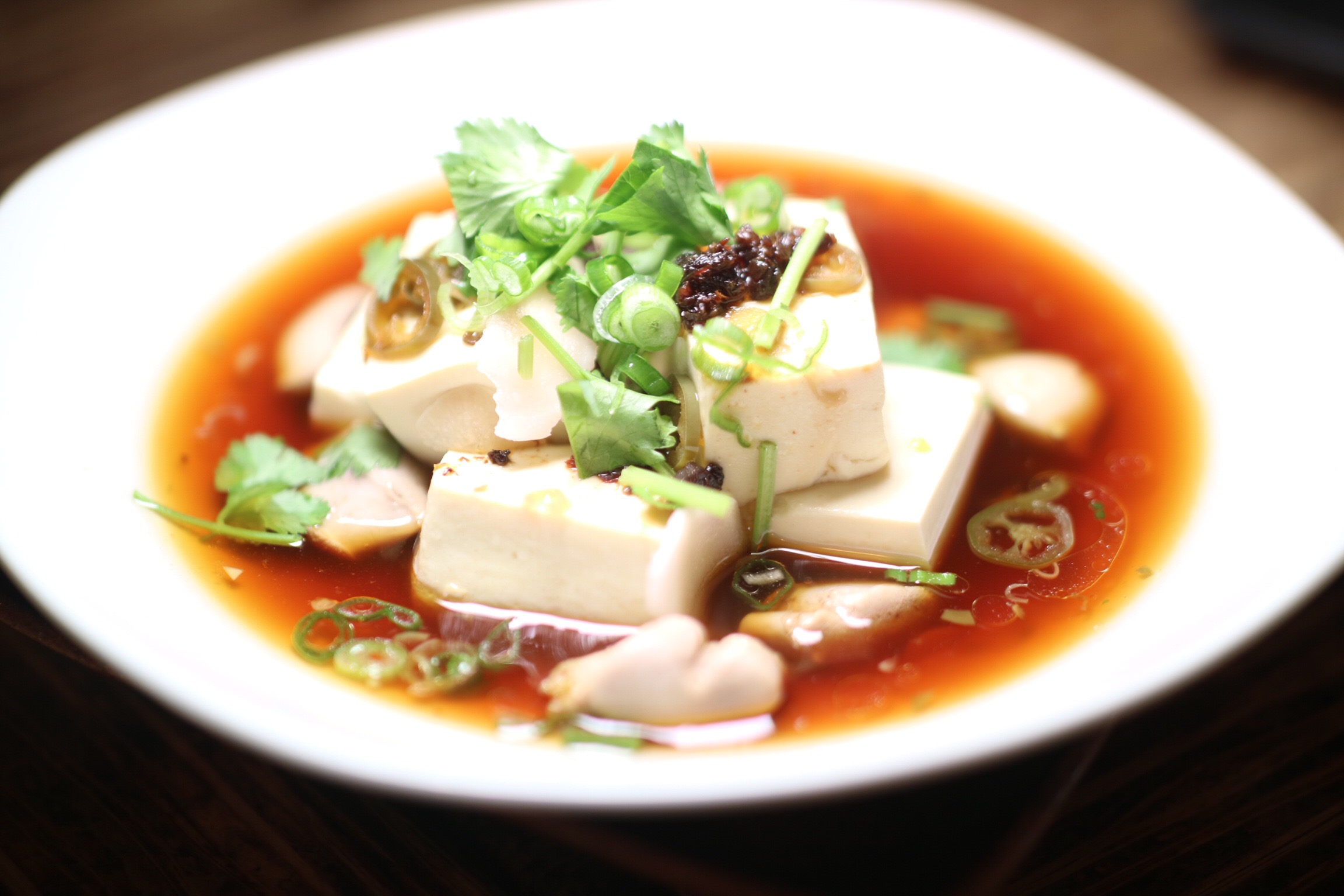 Steamed Tofu and Shirako with XO Sauce and Ginger