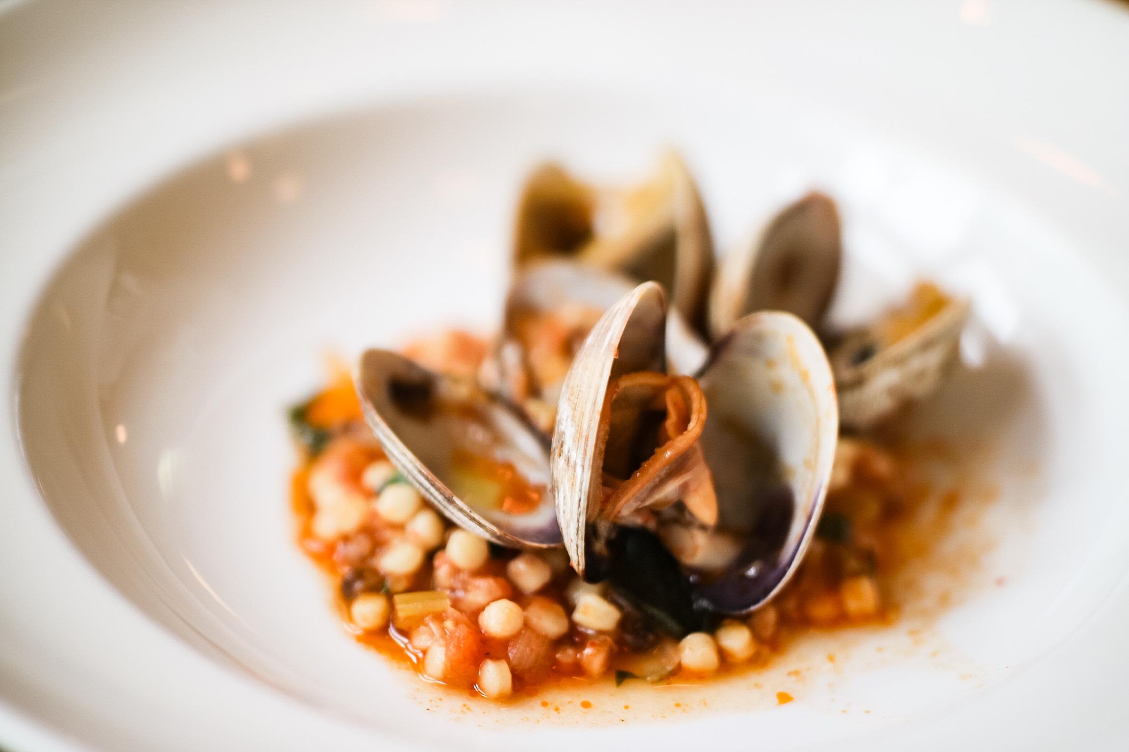Fregola, clams, preserved tomato, chili