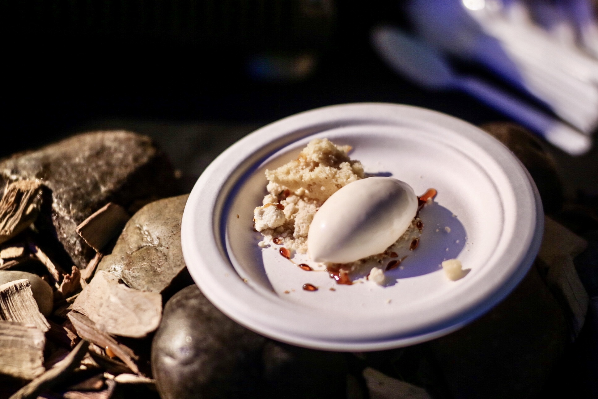 Matsutake Ice Cream with Birch Syrup Crumble and Fir Gastrique.