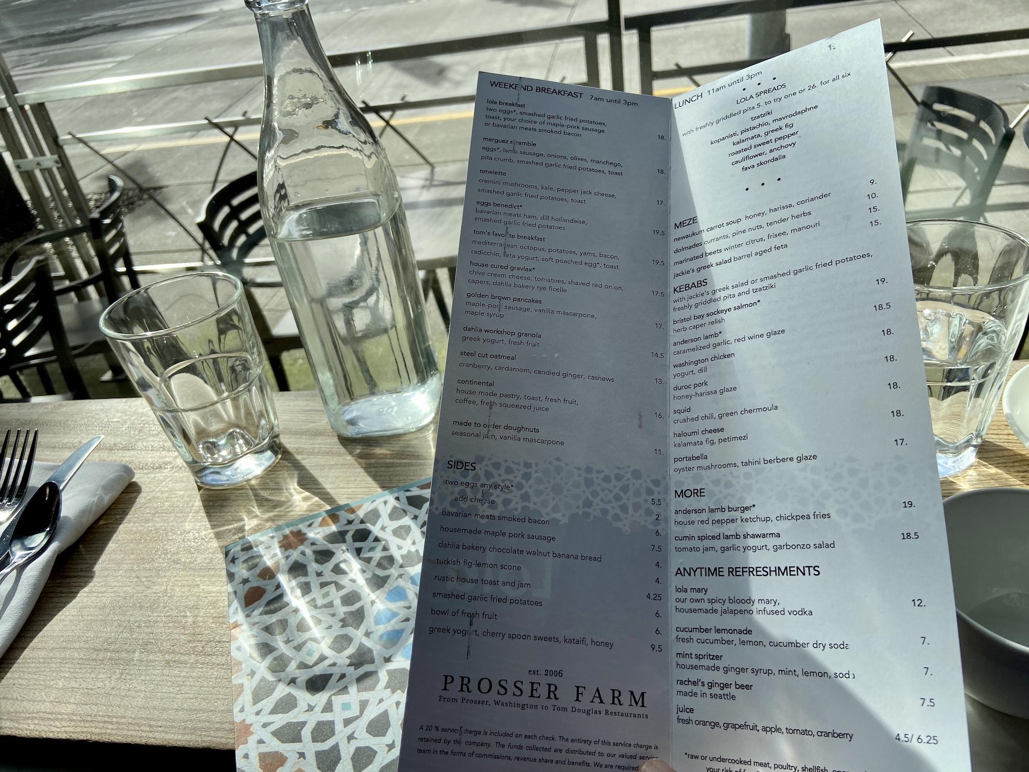 Brunch/Lunch menu at Lola