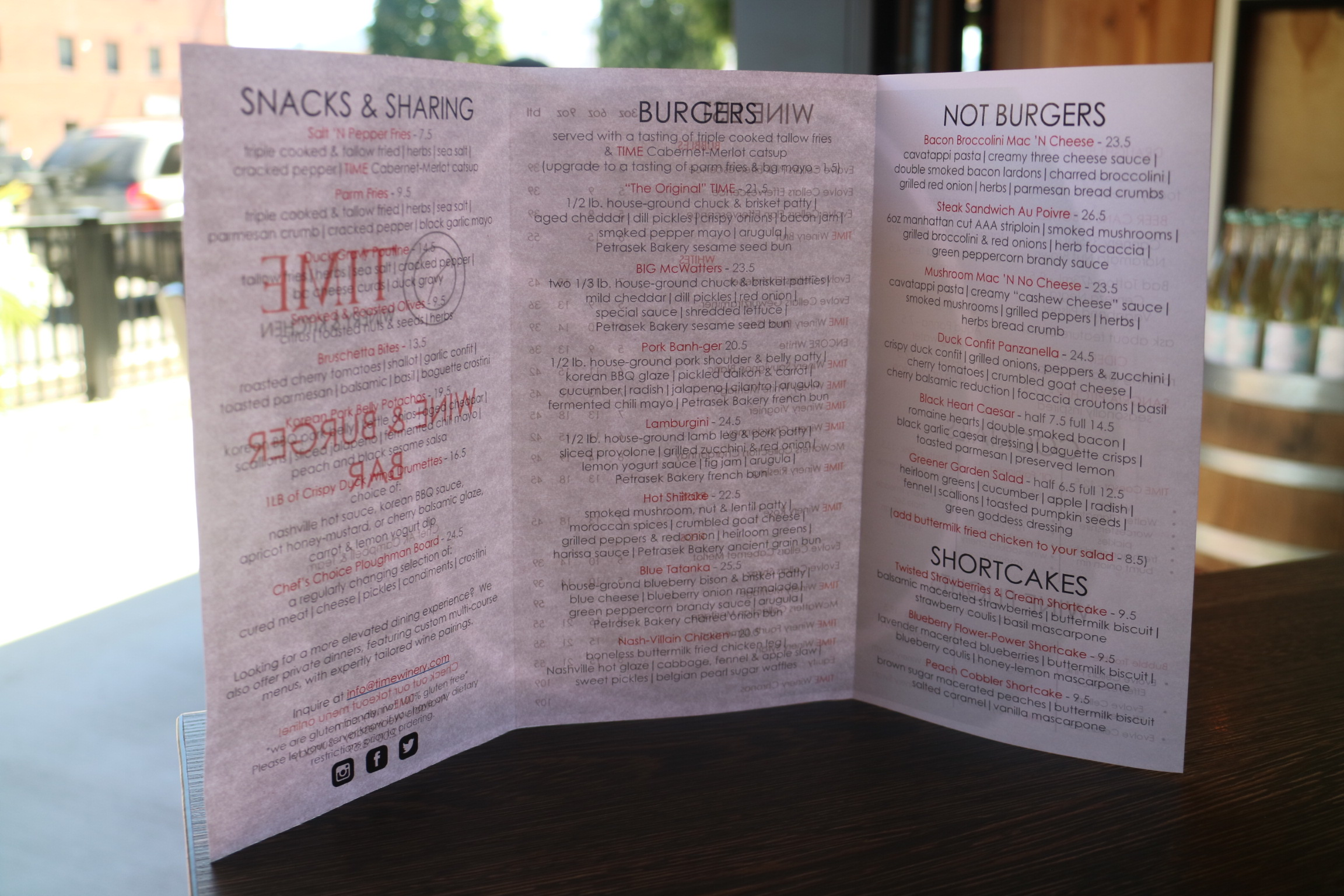 Time Winery & Kitchen Menu