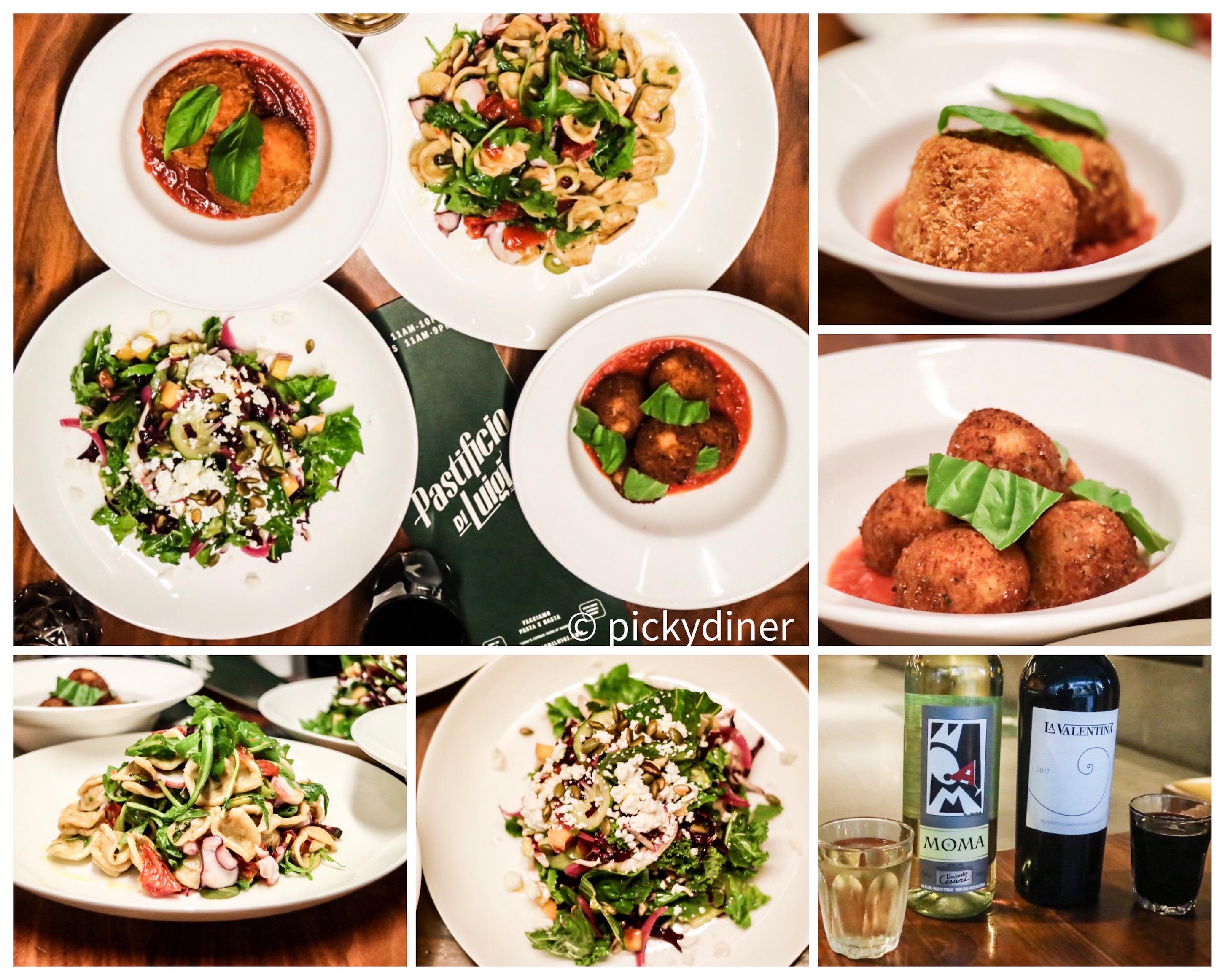 from top left: antipasti & insalata, suppli al telfono, polpette fritte, trebbiano & montepulciano, radicchio & romaine, insalata di pasta e pulpo