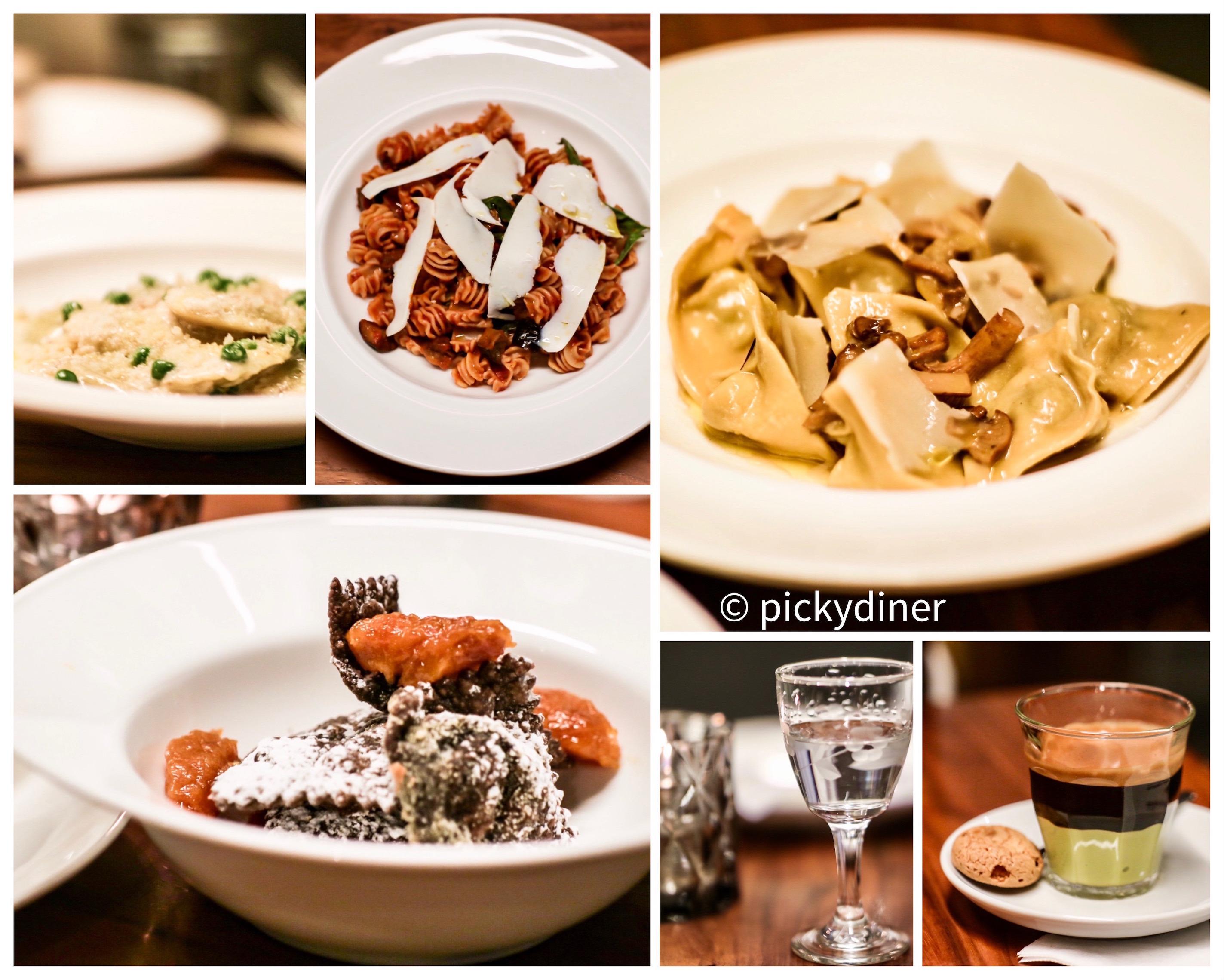 from top left, clockwise: ravioli ricotta & pea, radiatore alla norma, tortellini chanterelle, espresso & pistachio crema, grappa, ravioli al cioccolato