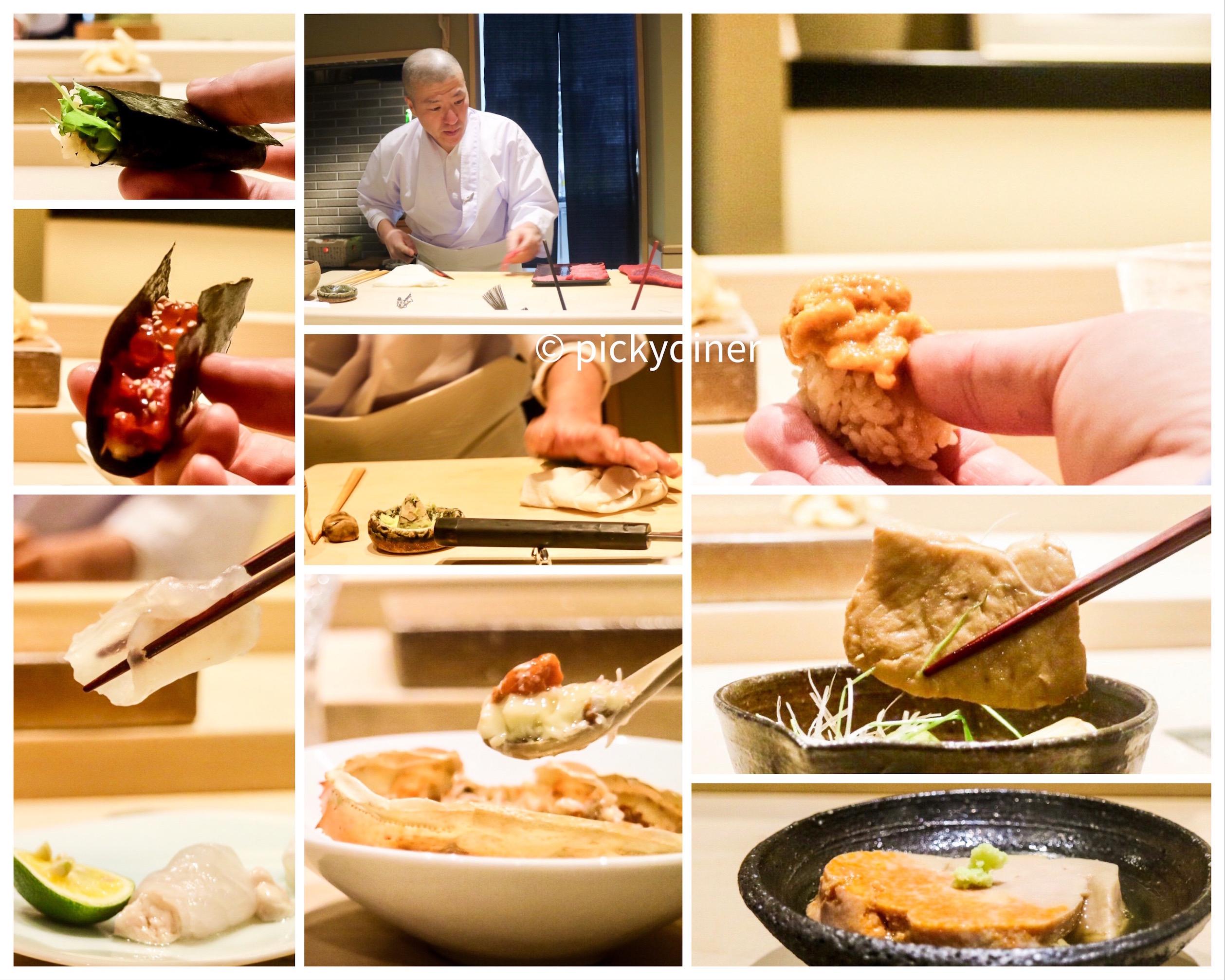 From top left clockwise: haskap roll, chef Hayashi, Hokkaido uni, cooked maguro (tuna), akimo (monkfish liver), Steam Crab, hirame sashimi, Ikura, freshly-ground wasabi