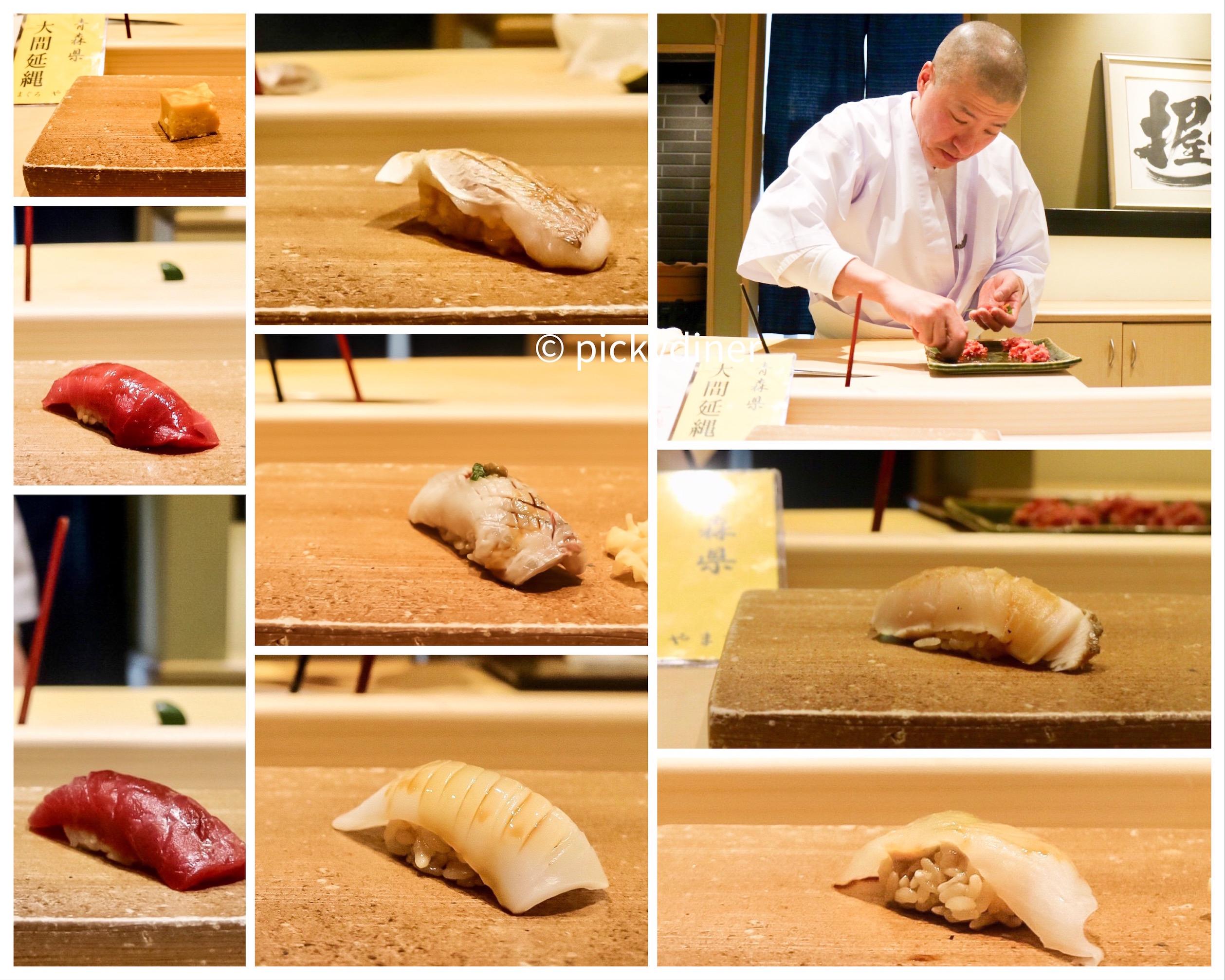 From top left, clockwise: tamagoyaki, kasuo, chef Hayashi, sawaru, kawahgi, ika, maguro, chutoro, iwashi
