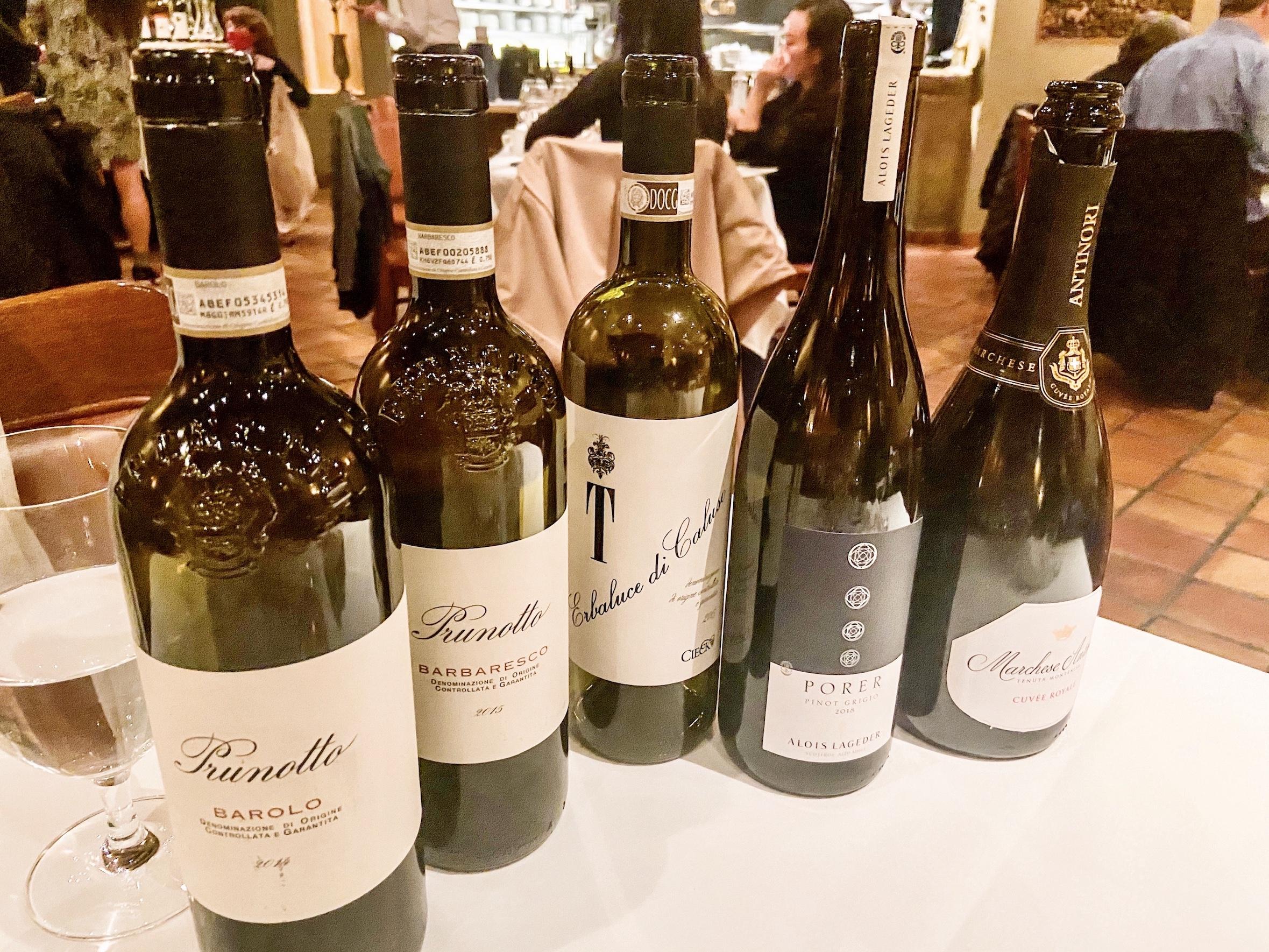 Wine pairing for CinCin Truffle Dinner 2020
