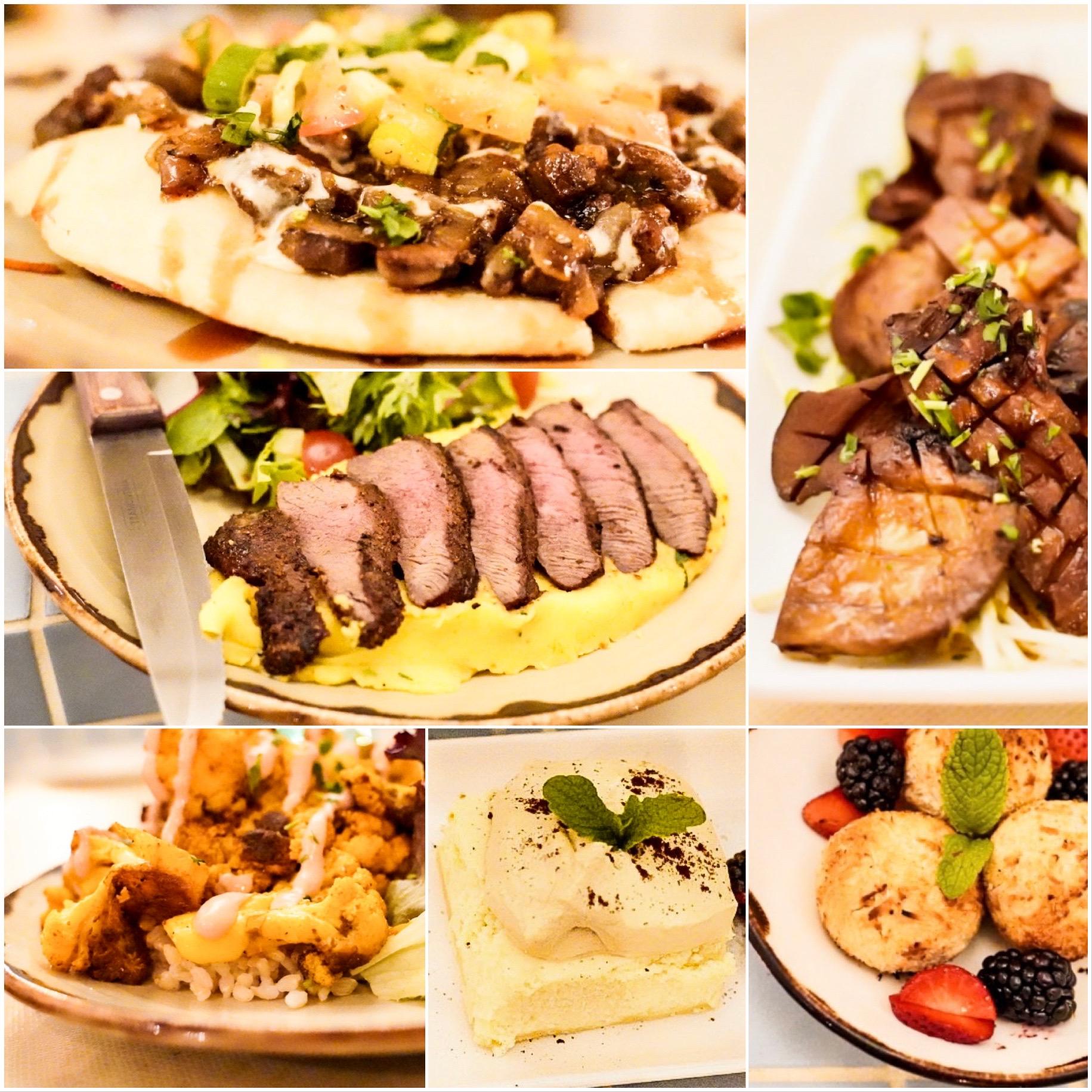 From the top-left clockwise:Lahmajeen Man'oushe,King Oyster Mushroom Mezze,Chocolate Ma'amoul,Turkish Coffee Cheesecake, Cauliflower Arnabiyeh, andGrilled Bison Flat Iron