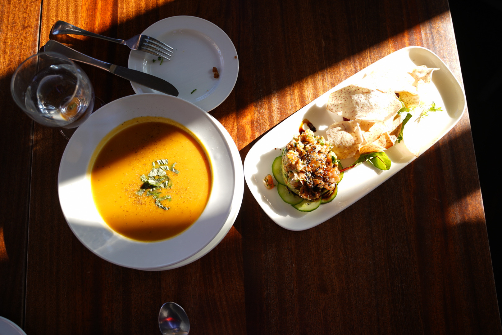 Maple Butternut Squash Soup + Salmon Tartare
